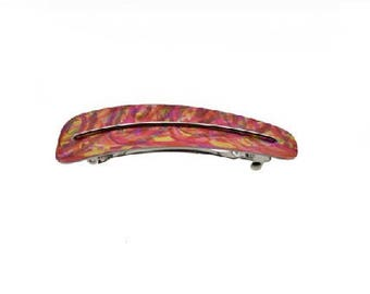 Red, pink, orange hair clip, anodized aluminum