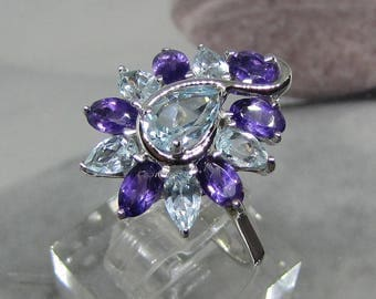 Enriched with amethyst and Blue Topaz 925 Silver ring. 25% with code: SOLD17