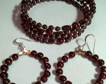 Garnet Bracelet and Earrings