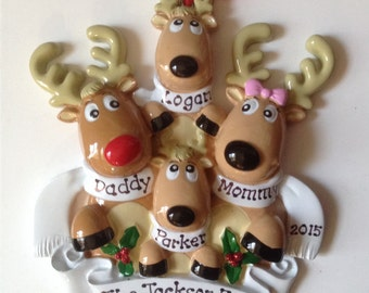 Personalized Reindeer  Christmas Ornament,Family of Four , Grandparents Gang, Coworkers, Best Friends, Bridesmaids, Hostess Gift Favor