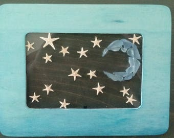 Framed Seaglass Moon and Stars