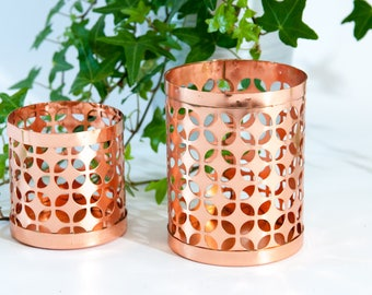 Copper tealight lanterns, copper tealight holders, copper candle lantern, copper lantern, copper candle holder, copper candlestick