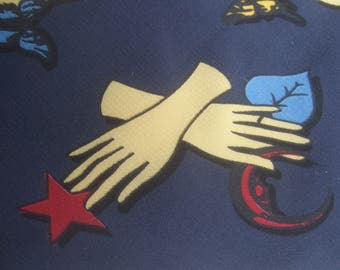 Fornasetti Italy Surrealistic Graphic Print Silk Necktie