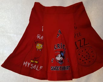 T-skirt: Is your favorite color RED? Then this skirt is made for you. Made from used t-shirts, it's environmentally friendly.