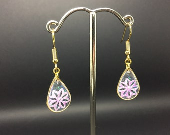 Purple Flower Sequin Drop Earrings