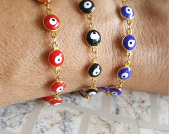 Evil eye gold filled bracelet, Evil eye bracelet, Evil eye jewerly, Gold-filled evil eye bracelet, Multi evil eye bracelet