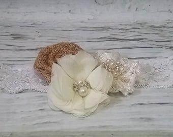 Free Shipping Shabby Chic Chiffon Burlap Lace Headband,Rustic Ivory headband, newborn headband, flower headband, baby girl headband