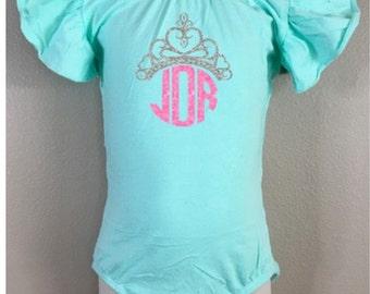 Princess crown monogram leotard - dance leotard - gymnastics leotard - personalized outfit - custom birthday - custom leotard