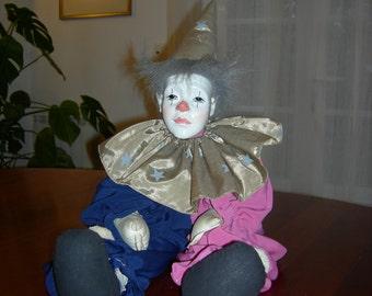 Cute Clown head porcelain rag doll fabric