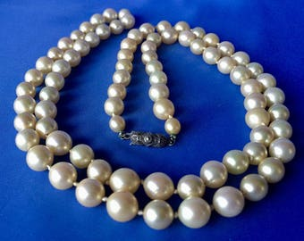 "Vintage Faux Pearl Necklace, Vintage 36"" Pearl Necklace, Faux Pearls with Silver Clasp"