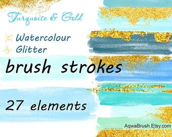 Watercolor & Glitter Brush strokes clipart Turquoise and Gold - Commercial use clip art digital background stripes - virid blue aquamarine