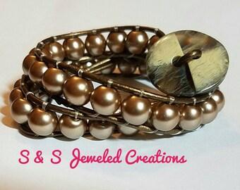 Brown/Bronze Beaded Wrap Bracelet