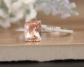 Bridal Ring Set with 11x9mm Cushion Morganite and Diamonds in 14k White Gold, Morganite Engagement Ring, Diamond Half Eternity Band