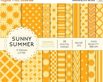80% Until New Year - Yellow and orange digital paper · yellow papers summer colors backgrounds with tribal triangles for scrapbooking and pa