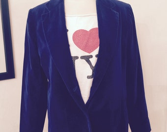 Vintage late 60's/70's original Jantzen fitted blue velvet blazer/jacket