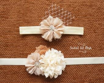 Flower Girl Headband, Flower sash, Champagne Headband, Baby headband, Baby Flower headband, Girls flower headband, Flower headband, headband