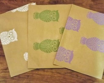 HAND PRINTED GIFTWRAP- Owl patterned wrapping paper, Recycled kraft giftwrap, Multiple colours