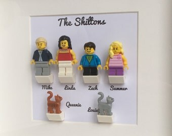 LEGO Family Customised Personalised Minifigures Frame, LEGO Birthday Gift For Him, Gift for Christmas, Weddings, Anniversaries