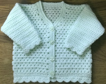 Printed Baby Crochet Cardigan Pattern in DK. Sizes 3 months to 6 years (1008)