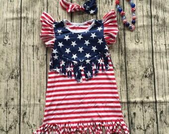 Stars and Stripes fringe dress set