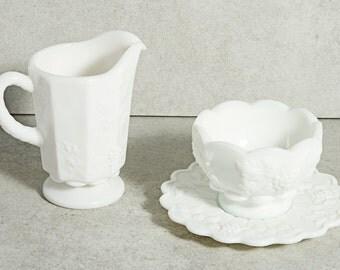Vintage Westmoreland Glass, Milk Glass Sugar Bowl and Creamer Set