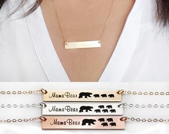 SALE-Mama Bear Necklace-Gold Bar Necklace-Personalized Gift for Mom-Baby Bears Cubs -14K Gold Filled-Rose Gold Filled,Sterling Silver-CG239N