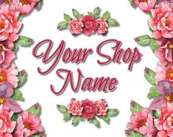 Shop Banner Set, Shop Banner, Custom Banner, Banner Set, Graphic Design, Banner Design, Cover Photo, Premade Banner, Pink Floral Banner,