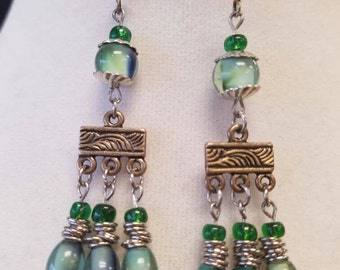 Sea Green and Blue Chandelier Earrings