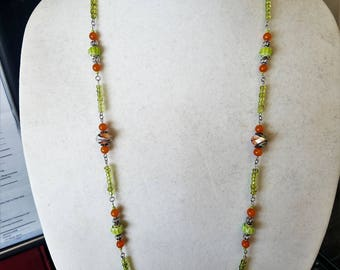 Lime Green and Orange Long Necklace and Earring Set