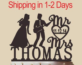 Singer And Guitarist Cake Topper,Bride And Groom Cake Topper,Funny Cake Topper,Custom Cake Topper,Mr And Mrs ,Funny Cake Topper,CT155