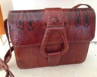 Vintage Snakeskin Ladies Handbag. genuine leather bag, leather shoulder bag