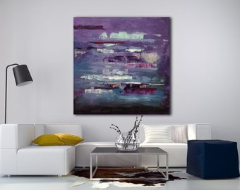 Large abstract painting blue and purple with a spatula