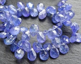 Cut Tanzanite drops, 4x6mm - 5.5x8mm, 20cm string, 68 beads, (1713)