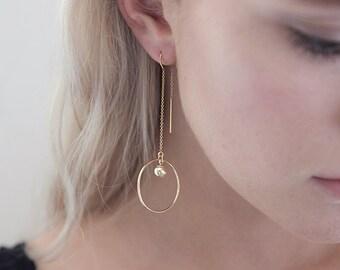 Large Circle Drop Earrings,Threader Earrings,Gold Circle Earrings,14K Gold Filled