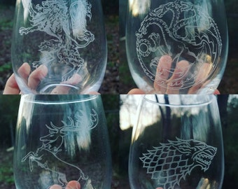 Game of thrones great houses ultimate collectors edition wine glasses Targaryen Stark Baratheon Lannister engraved wine glass set gifts