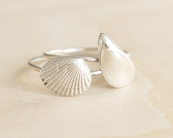 Shell Stacking Rings Delicate Silver Beach Mermaid Boho Gypsy Style