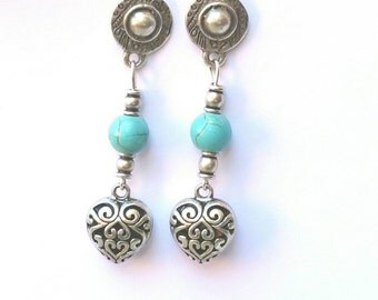 Vintage style long earrings with turquoise, vintage earrings with turquoise, heart and turquoise earrings vintage