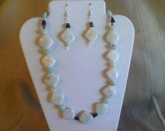 116 Exquisite Natural Amazonite Gemstone and Genuine Garnet Gemstone Beaded Necklace