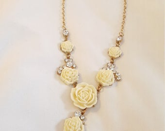 Rose and Gold Necklace (Costume Jewelry)