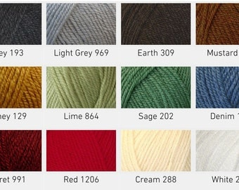 Cygnet Aran Yarn 100g ball, various colours available, Aran yarn, green yarn, blue yarn, cream yarn.