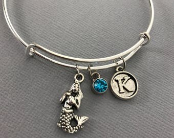 Mermaid - Mermaid Jewelry - Beach Charm Bracelet - Mermaid Charm - Gift for her - Mermaid Party - Charm Bracelet - Bangles - Gift for mom
