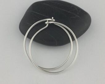 Silver Hoop Earrings, 18 gauge (1mm) Hoops, Sterling Silver Hoops, Thick Hoop Earrings, Argentium Sterling Silver, Thick Hoops, Round Hoops