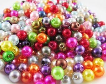 50g 500+pcs Acrylic Pearl Round Craft Beads 6mm Hole 1.5mm (B043)