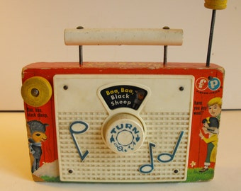Vtg Fisher Price TV-Radio Wood Baa Baa Black Sheep 1966 Toy   (763)