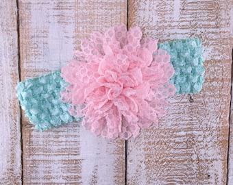 Pink & Sea Foam Headband, Newborn Headband, Baby Girl Headband, Crochet Headband, Easter Headband, Baby Shower Gift, Photography Prop