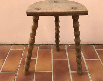 Primitive Wood MILKING STOOL Bench 3 Leg chair Old Furniture Rustic 1204175