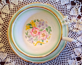 1930's hand painted Royal Albert teacup and saucer.