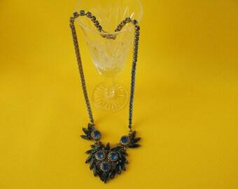 CZECH glass NECKLACE retro USSR vintage jewelry Russian soviet Beads ornaments for women blue glass