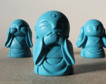 Bunkoza® Buddha Trio  - See Hear Speak  - Modern Ceramic Buddha Statue Ornament Feng Shui Home Smiling