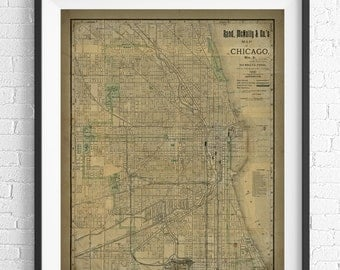 Chicago Map Print, Vintage Map Art, Antique Map, Chicago Wall Art, History Gift, Wall Decor, Map Poster, Rustic, Chicago Art, Chicago Print